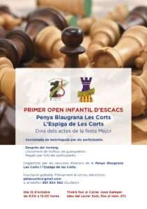 1r OPEN INFANTIL D'ESCACS FESTA MAJOR DE LES CORTS